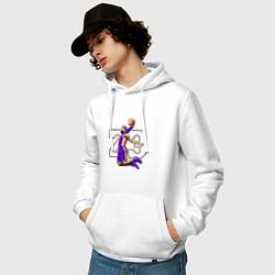 Толстовка-худи хлопковая мужская Леброн Джеймс цвета белый — фото 2