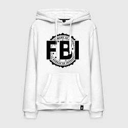 Толстовка-худи хлопковая мужская FBI Agency цвета белый — фото 1