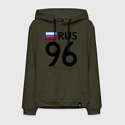 Толстовка-худи хлопковая мужская RUS 96 цвета хаки — фото 1