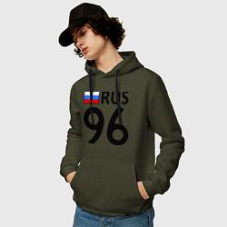Толстовка-худи хлопковая мужская RUS 96 цвета хаки — фото 2