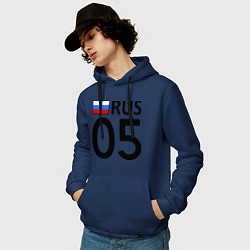 Толстовка-худи хлопковая мужская RUS 05 цвета тёмно-синий — фото 2