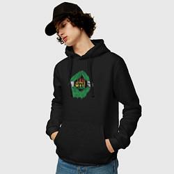 Толстовка-худи хлопковая мужская Регги цвета черный — фото 2