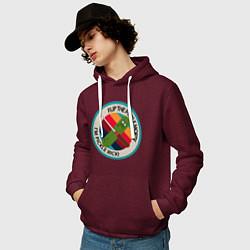 Толстовка-худи хлопковая мужская IM PICKLE цвета меланж-бордовый — фото 2