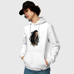 Толстовка-худи хлопковая мужская Бард Лучник цвета белый — фото 2