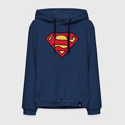 Толстовка-худи хлопковая мужская Superman logo цвета тёмно-синий — фото 1