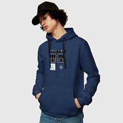 Толстовка-худи хлопковая мужская Доктор Кто, ТАРДИС цвета тёмно-синий — фото 2
