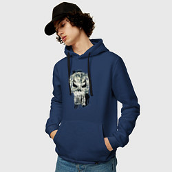 Толстовка-худи хлопковая мужская Каратель Череп цвета тёмно-синий — фото 2