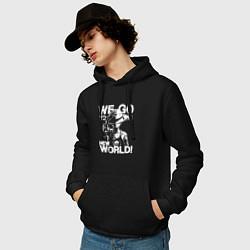 Толстовка-худи хлопковая мужская One Piece цвета черный — фото 2