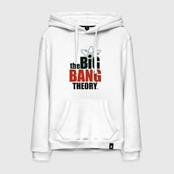 Толстовка-худи хлопковая мужская Big Bang Theory logo цвета белый — фото 1