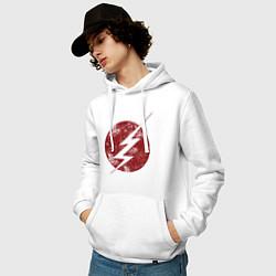 Толстовка-худи хлопковая мужская The Flash logo цвета белый — фото 2