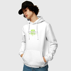 Толстовка-худи хлопковая мужская MONSTER ENERGY цвета белый — фото 2