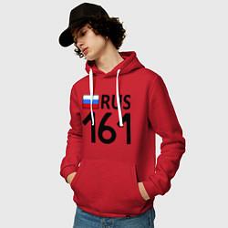Толстовка-худи хлопковая мужская RUS 161 цвета красный — фото 2