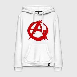 Толстовка-худи хлопковая мужская Символ анархии цвета белый — фото 1