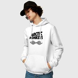 Толстовка-худи хлопковая мужская Arctic Monkeys цвета белый — фото 2