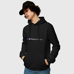 Толстовка-худи хлопковая мужская BMW M Performance цвета черный — фото 2