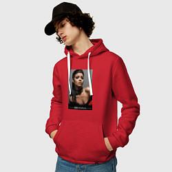 Толстовка-худи хлопковая мужская Rihanna: portrait цвета красный — фото 2