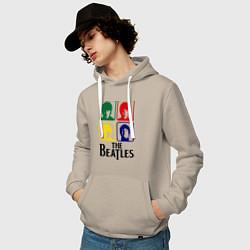 Толстовка-худи хлопковая мужская The Beatles: Colors цвета миндальный — фото 2