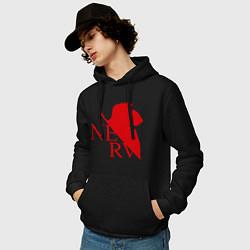 Толстовка-худи хлопковая мужская Евангелион NERV цвета черный — фото 2