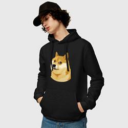 Толстовка-худи хлопковая мужская Doge цвета черный — фото 2