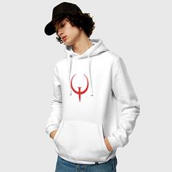 Толстовка-худи хлопковая мужская Quake цвета белый — фото 2