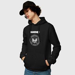 Толстовка-худи хлопковая мужская Ramones цвета черный — фото 2