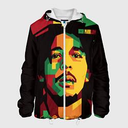 Куртка с капюшоном мужская Боб Марли цвета 3D-белый — фото 1