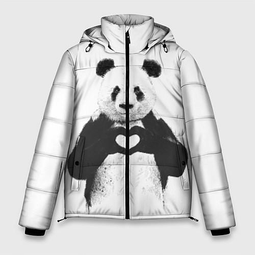 Мужская зимняя куртка Panda Love / 3D-Черный – фото 1