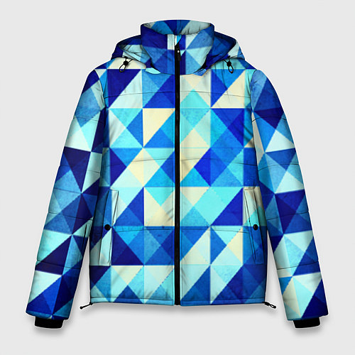 Мужская зимняя куртка Синяя геометрия / 3D-Черный – фото 1