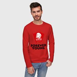 Лонгслив хлопковый мужской ВЛКСМ цвета красный — фото 2