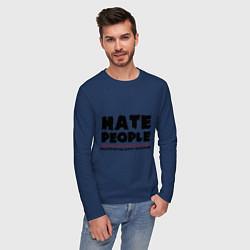 Лонгслив хлопковый мужской Hate People цвета тёмно-синий — фото 2