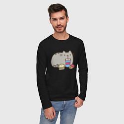 Лонгслив хлопковый мужской Котик с бургером и фри цвета черный — фото 2