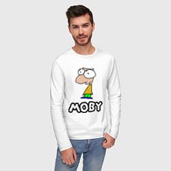 Лонгслив хлопковый мужской Moby цвета белый — фото 2