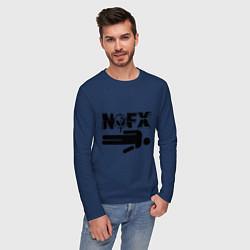 Лонгслив хлопковый мужской NOFX crushman цвета тёмно-синий — фото 2