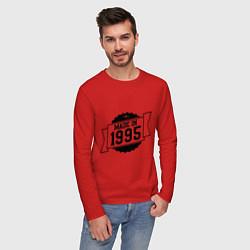 Лонгслив хлопковый мужской Made in 1995 цвета красный — фото 2