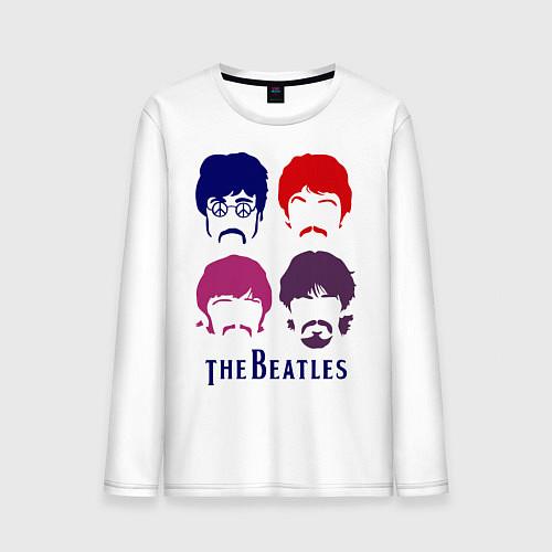 Мужской лонгслив The Beatles faces / Белый – фото 1