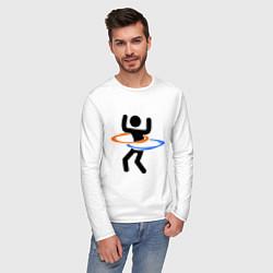 Лонгслив хлопковый мужской Portal Рoops цвета белый — фото 2
