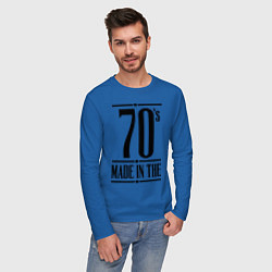 Лонгслив хлопковый мужской Made in the 70s цвета синий — фото 2