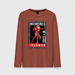 Лонгслив хлопковый мужской Invincible Iron Man цвета кирпичный — фото 1