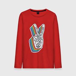 Лонгслив хлопковый мужской PEACE LOVE HOPE Z цвета красный — фото 1