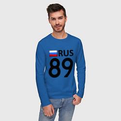 Лонгслив хлопковый мужской RUS 89 цвета синий — фото 2