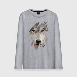 Лонгслив хлопковый мужской Волк - моё второе Я цвета меланж — фото 1