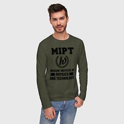 Лонгслив хлопковый мужской MIPT Institute цвета меланж-хаки — фото 2