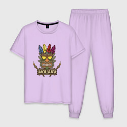 Пижама хлопковая мужская Aku-Aku (Crash Bandicoot) цвета лаванда — фото 1
