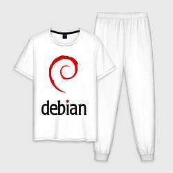 Пижама хлопковая мужская Debian цвета белый — фото 1