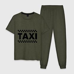Пижама хлопковая мужская Taxi цвета меланж-хаки — фото 1