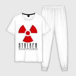 Пижама хлопковая мужская STALKER: Shadow of Chernobyl цвета белый — фото 1