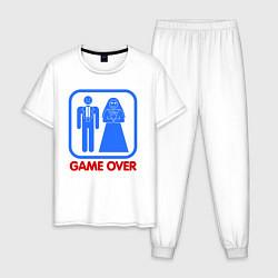 Пижама хлопковая мужская Game over цвета белый — фото 1
