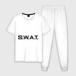 Пижама хлопковая мужская S.W.A.T цвета белый — фото 1