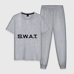 Пижама хлопковая мужская S.W.A.T цвета меланж — фото 1