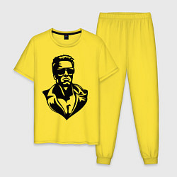 Пижама хлопковая мужская Железный Арни цвета желтый — фото 1